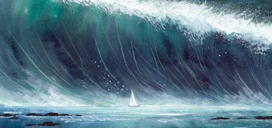 A sailboat sails into the wind, and a giant wave.