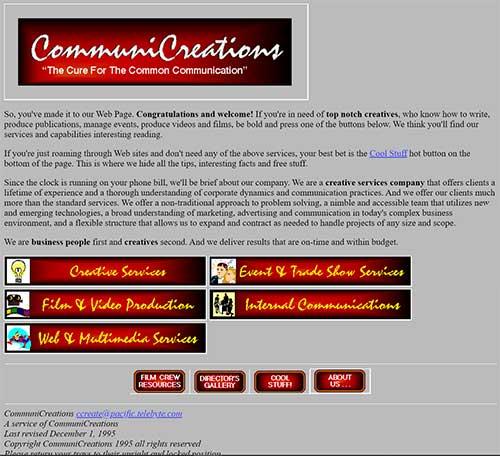Una captura de pantalla de un sitio web, alrededor de 1995.