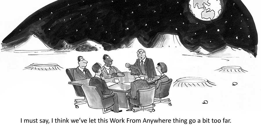 En frustrert administrerende direktør holder et eksternt møte - på månen!