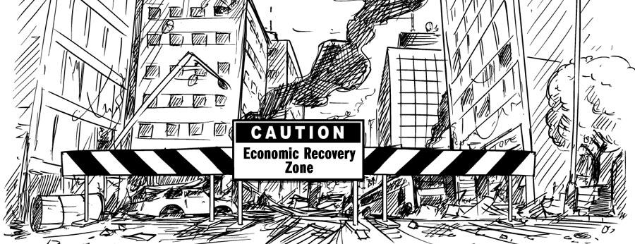 주의 - 경제 회복 구역 표지판은 건설 중인 시내로 가는 길을 막고 있습니다.
