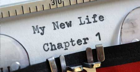 A typewriter with Chapter 1 - My New Life typed.