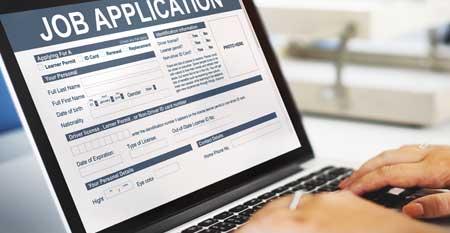 A job application open on a laptop